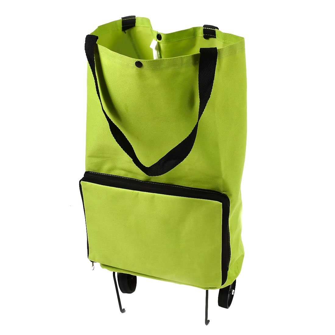 uxcell Polyester Handy Foldable Bag Wheel Cart Shopping Trolley Green a16031500ux1943