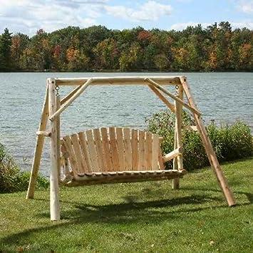 Lakeland Mills CFU28 Cedar Log Outdoor Yard Swing, 5 Feet