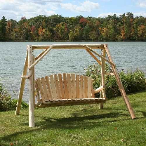 Amazon.com : Lakeland Mills CFU28 Cedar Log Outdoor Yard Swing, 5 Feet : Porch  Swings : Patio, Lawn U0026 Garden