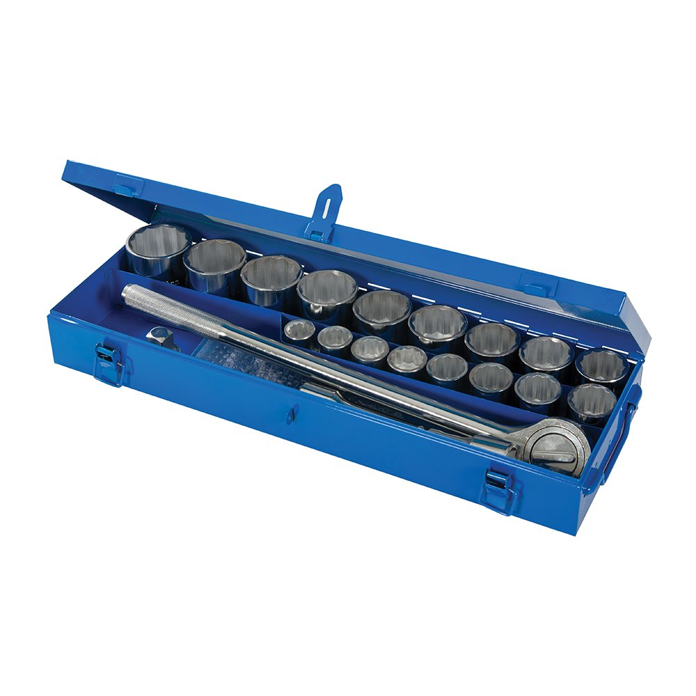 Silverline 633663 Socket Set 0.75-inch Drive Metric 21-Piece Set SLTL4