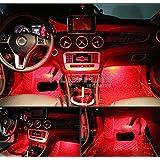 Car LED Strip Light,4pcs Interior Under Dash Lighting Kit LED Multicolor Auto Interior LED Atmosphere Lights (Red1)