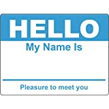 Sky Blue Hello My Name Is Name Badge Tag Labels Stickers - 1 Roll