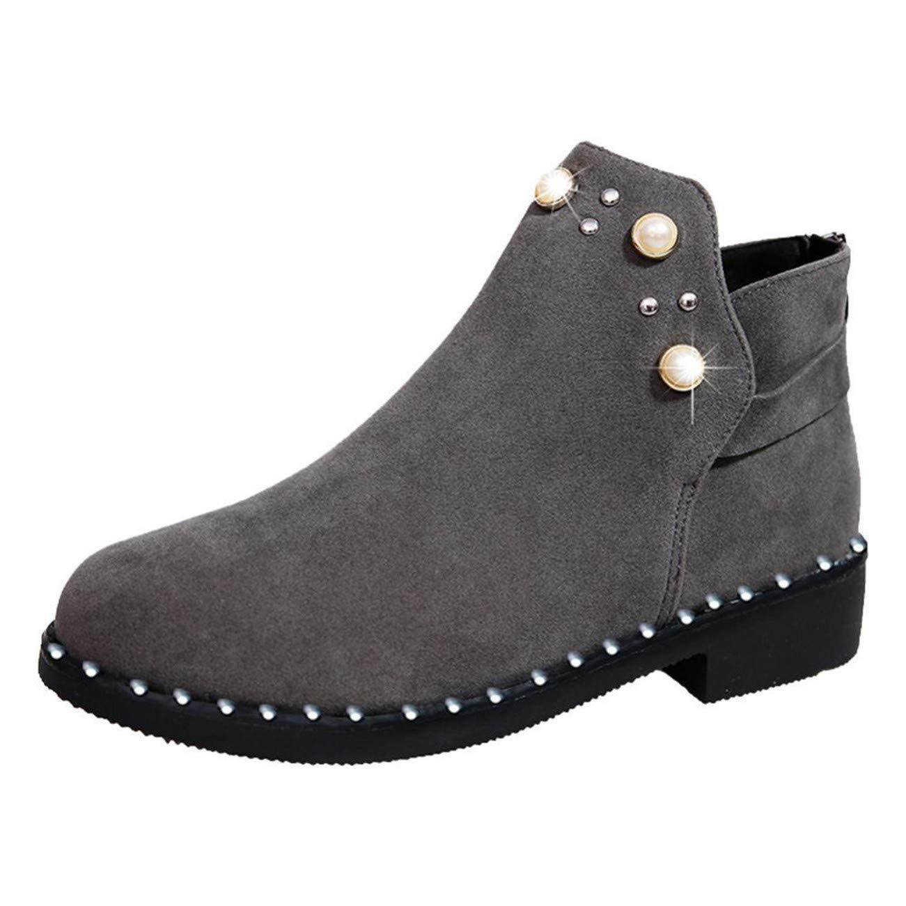 HCFKJ Chaussures Femme Vintage Femmes Boot Chaussures Perle Martain Bottes Daim Plat Bottes Zipper Bottine HCFKJ-Js