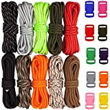Zacro 400lb Survival Paracord Combo Crafting Kits, Including 10ft Colorful Paracord Straps and 10 Random Color Buckles