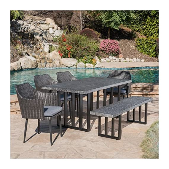 Christopher Knight Home Cosmo | Outdoor 6-Piece Wicker/Concrete Lightweight Dining Set Oak Finish | Water Resistant Cushions | in Black/Grey - The beautiful blend of light weight concrete and wicker comes to life with this dining Set, complete with four wicker dining chairs and one matching light weight concrete Bench, you can enjoy eating in your backyard whenever you want, this Set also comes with the added benefit of cushions for your seats, giving you the perfect color contrast Includes: one (1) table, one (1) Bench, and four (4) chairs | includes covers for table and Bench Table and Bench material: Light weight concrete | table and Bench Leg Material: iron | chair Material: faux wicker | chair frame material: iron | chair cushion material: Water resistant fabric | Composition: 100% polyester | table and Bench Finish: grey oak | table and Bench Leg Finish: Black | wicker finish: Black | Cushion color: grey - patio-furniture, dining-sets-patio-funiture, patio - 61R18pCRrSL. SS570  -