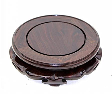 Goldy Wendy Rosewood Pedestal Stand with Non-Slip mat. 6.1 Inside Diameter, 1 Pack
