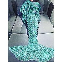 "KAKOM Mermaid Tail Blanket Crochet and Mermaid Blanket for Teens Adult, Super Soft All Seasons Sleeping Blankets 71""x35.5"" (Mint Green)"