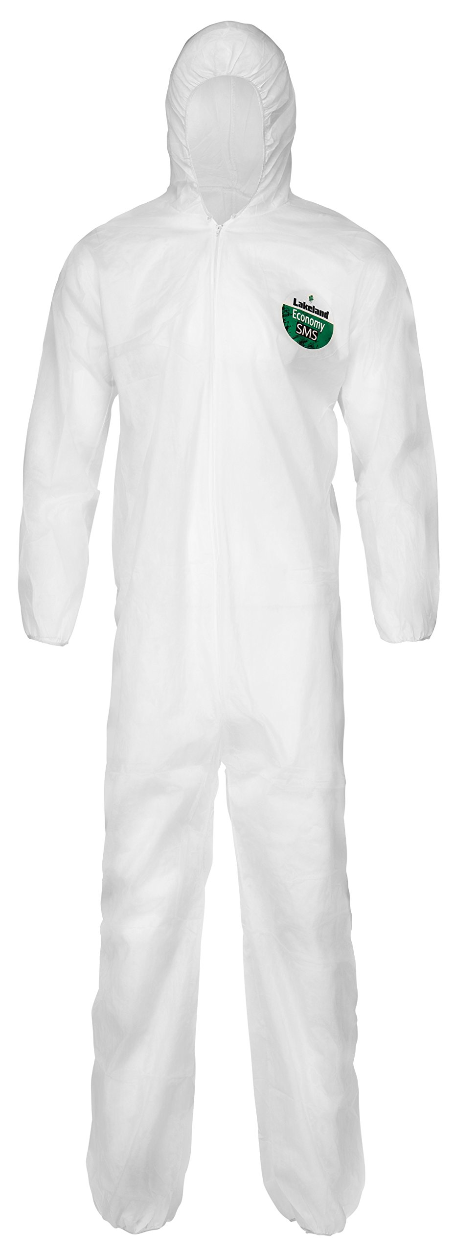 Lakeland SafeGard Economy SMS Coverall with Hood, Disposable, Elastic Cuff, X-Large, White (Case of 25)