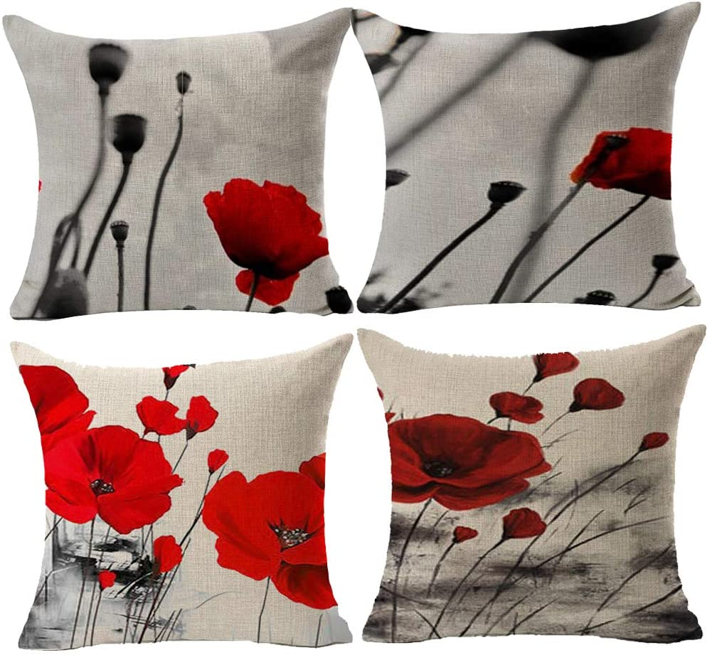 Queen s designer Red Poppy Flower Retro Ink Painting Cotton Linen Home Decorative Throw Pillow Case Cushion Cover Square 18 X18
