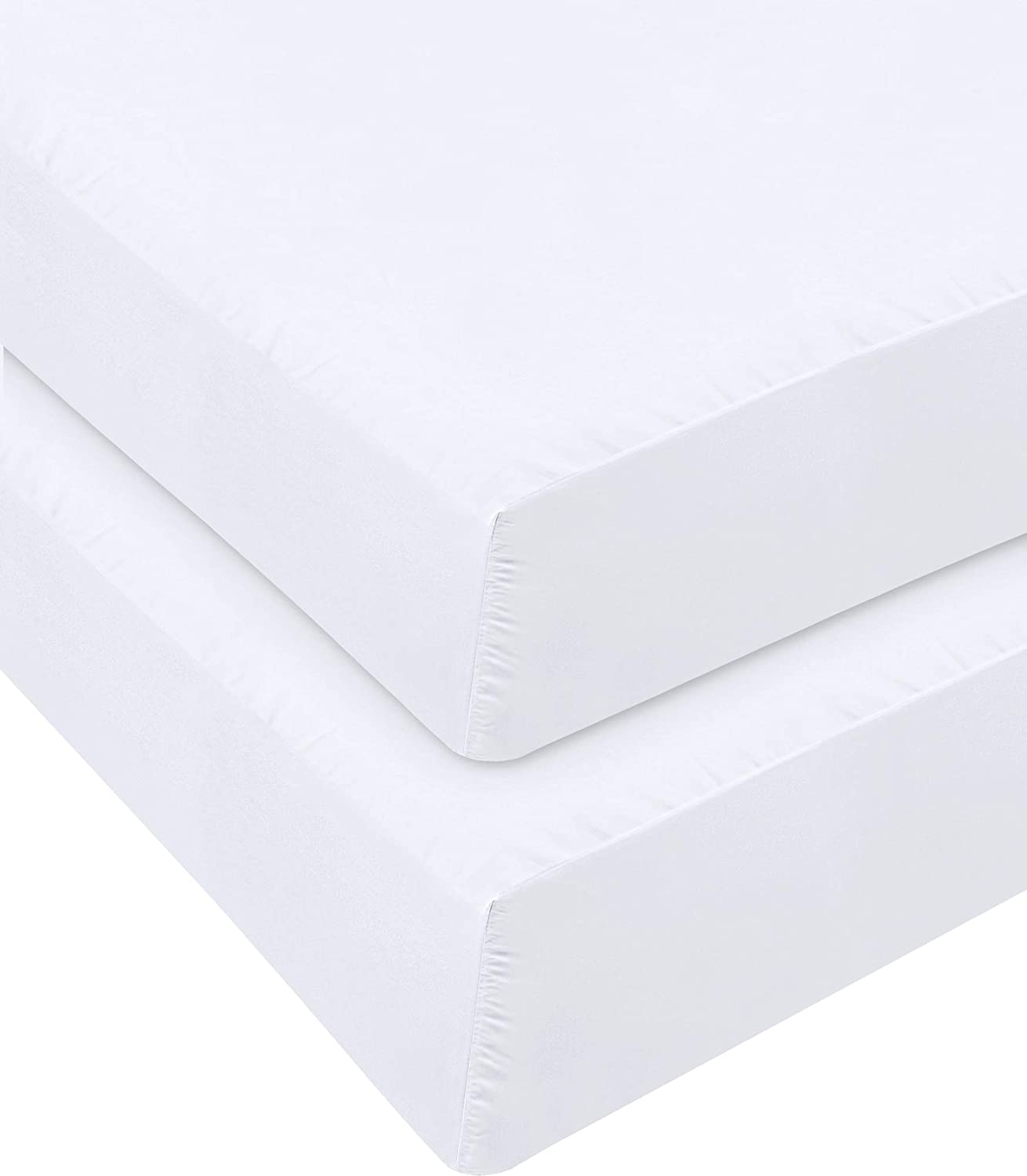 Utopia Bedding Fitted Sheet - Pack of 2 Bottom Sheets - Soft Brushed Microfiber - Deep Pockets, Shrinkage & Fade Resistant - Easy Care (Twin, White)