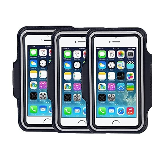 """SweatProof Armband for Big Phones, [3 Pack] CaseHigh Shop for iPhone 6S/6/5S/5/5C/4/4S & Galaxy S5/S6 Plus S7 LG G5 V10… 1 Universal Designed: Up to 5.7"""" diagonal size. This waterproof dry bag fits almost all of phones, for instance, Apple iPhone 4/4S,iPhone SE/5S/5,iPhone 6/6s,iPhone 6 Plus/6S Plus, Samsung Galaxy S4/S5/S6 edge, Samsung Galaxy S7/S7 edge, Samsung note 4/ note5, LG G5 ,LG K7, LG K10, Nokia Lumia, BlackBerry, Motorola MOTO G, Keys, Cash, MP3 Player and other personal device less than 5.7 Built-in hidden key holder to help you minimize carrying extra things when hitting the gym! Reflective strip around border to enhance 'Jog Safe' precaution Enjoy the full use of your phone through the protective screen cover on the armband with fully touch compatible, easily answer calls, manage your playlist, or activate your stopwatch without removing the phone"""
