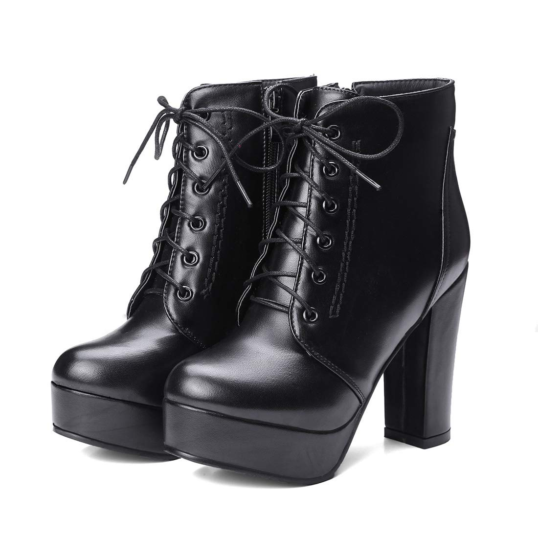 DANDANJIE Damenschuhe Herbst Winter Stiefel Komfort Schnür Mode Runde Toe Stiefelies Ankle Stiefel