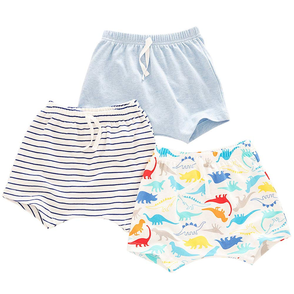 Baby Shorts 100/% Cotton 3 Piece Stripes Adjustable Neutral Shorts for Boys and Girls 0-4 Years Old