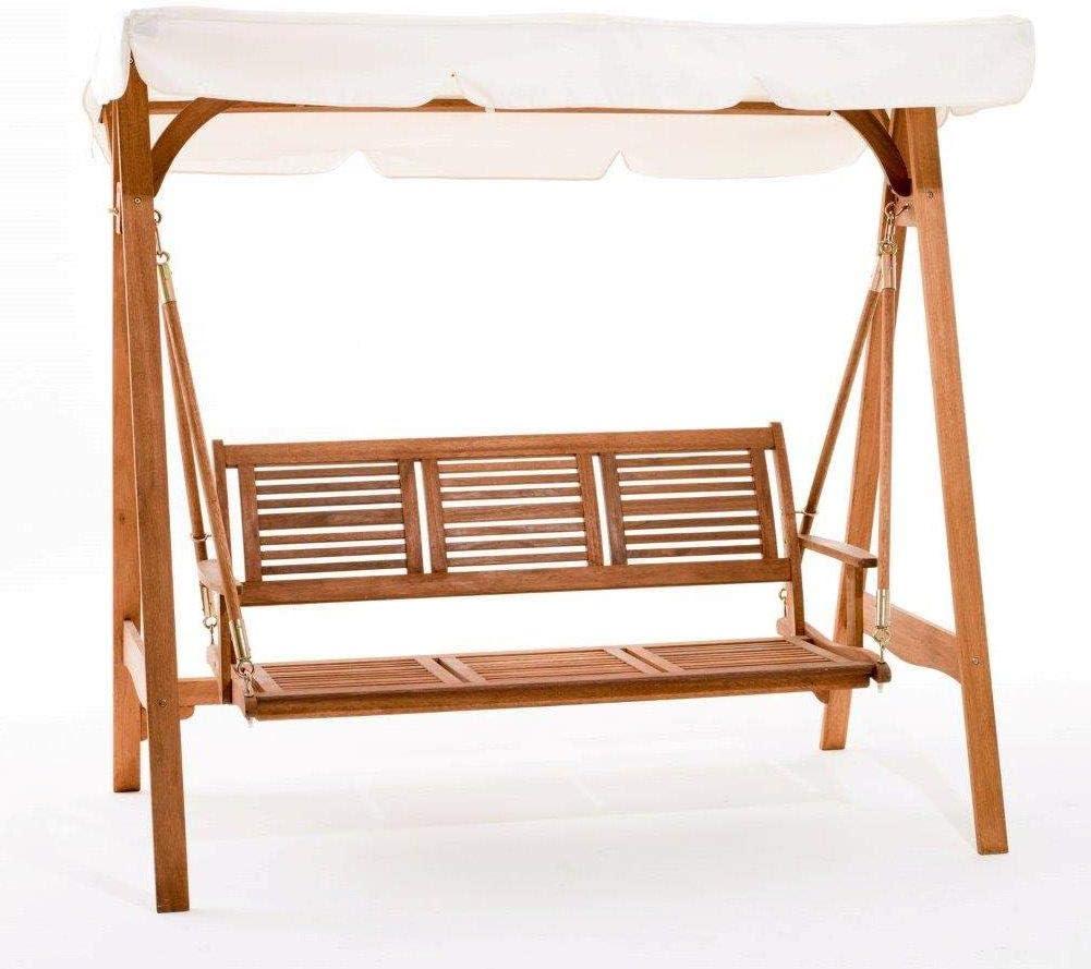 WeBMARKETPOINT # Balancín de jardín modelo Texas 3 plazas estructura de madera #: Amazon.es: Jardín