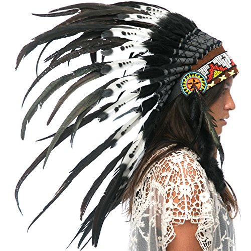 Feather Headdress- Native American Indian Style- Handmade Halloween Costume for Men Women with Real Feathers - Double Feather Black & White