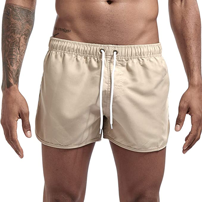 Swimming Boardshorts Lightweight Slim-Fit Straight Beach Shorts with Drawstring