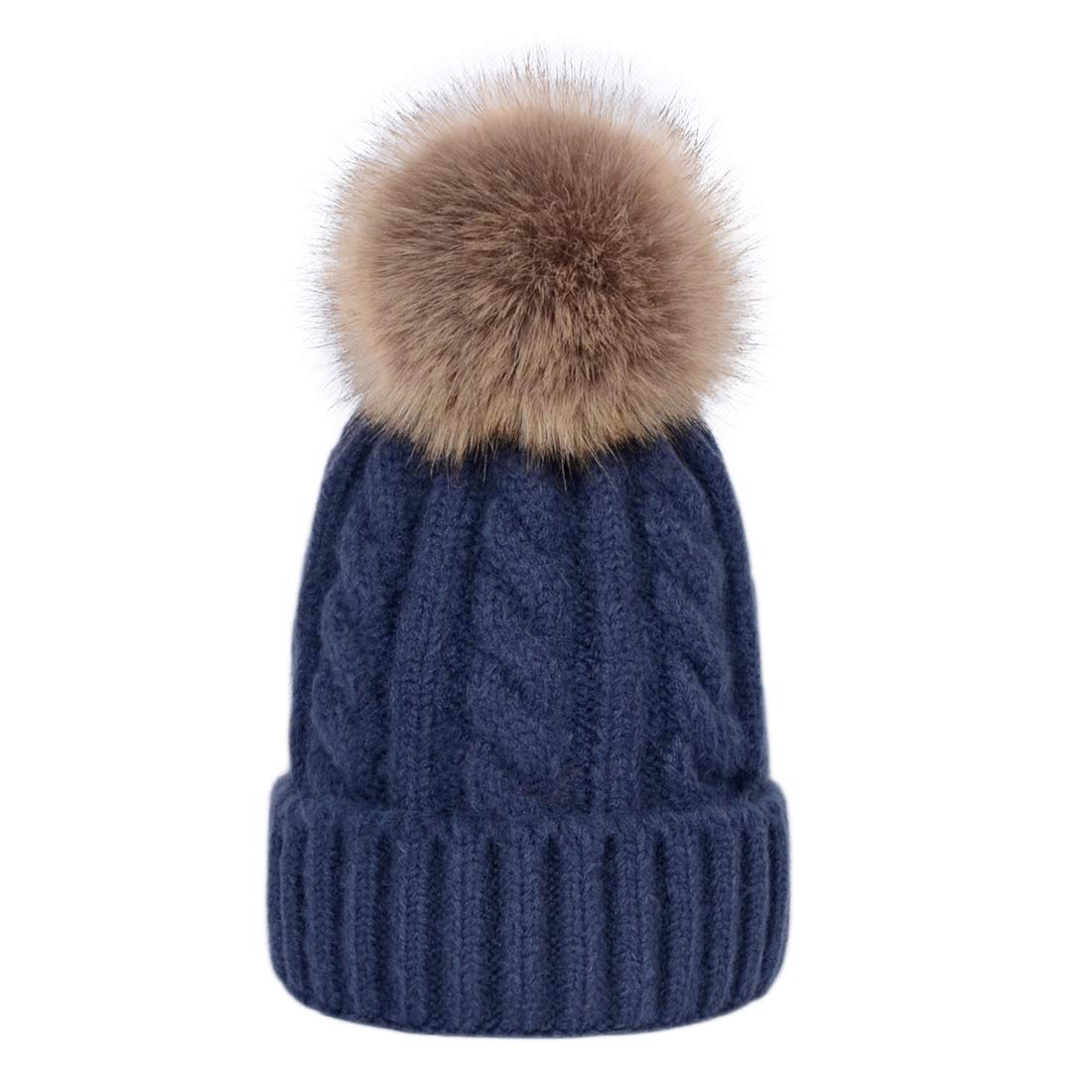 Laus Girls Pom Pom Hats Faux Fur Cable Knitted Winter Beanie Bobble Hat