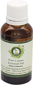R V Essential Pure Lemon Essential Oil 5ml (0.169oz)- Citrus Limonum (100% Pure and Natural Steam Distilled)