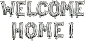"Allinlove 16inch""Welcome Home!"" Balloon Banner Aluminum Foil Balloon Foil Mylar Balloons Letters Welcome Anniversary Celebration Party Balloons Decorations Supplies (Silver)"