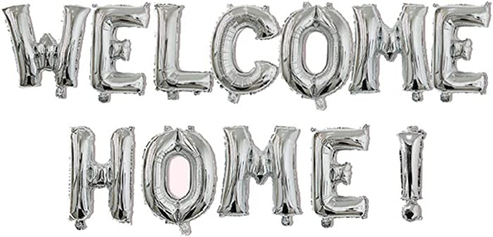 """Allinlove 16inch""""Welcome Home!"""" Balloon Banner Aluminum Foil Balloon Foil Mylar Balloons Letters Welcome Anniversary Celebration Party Balloons Decorations Supplies (Silver)"""