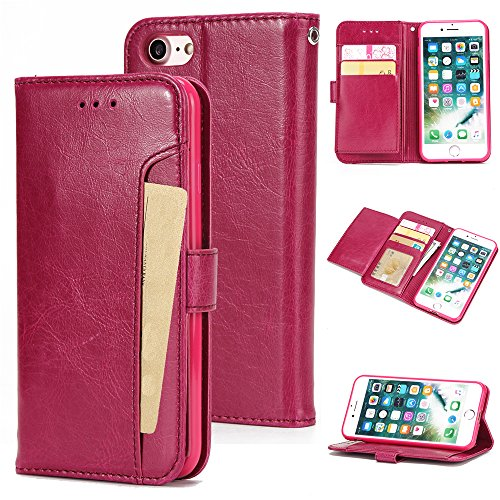 - Torubia iPhone 7 iPhone 8 case, Pouch iPhone 7 iPhone 8 Pouch Built-in Stand Function for iPhone 7 iPhone 8 - Peach Red Leather