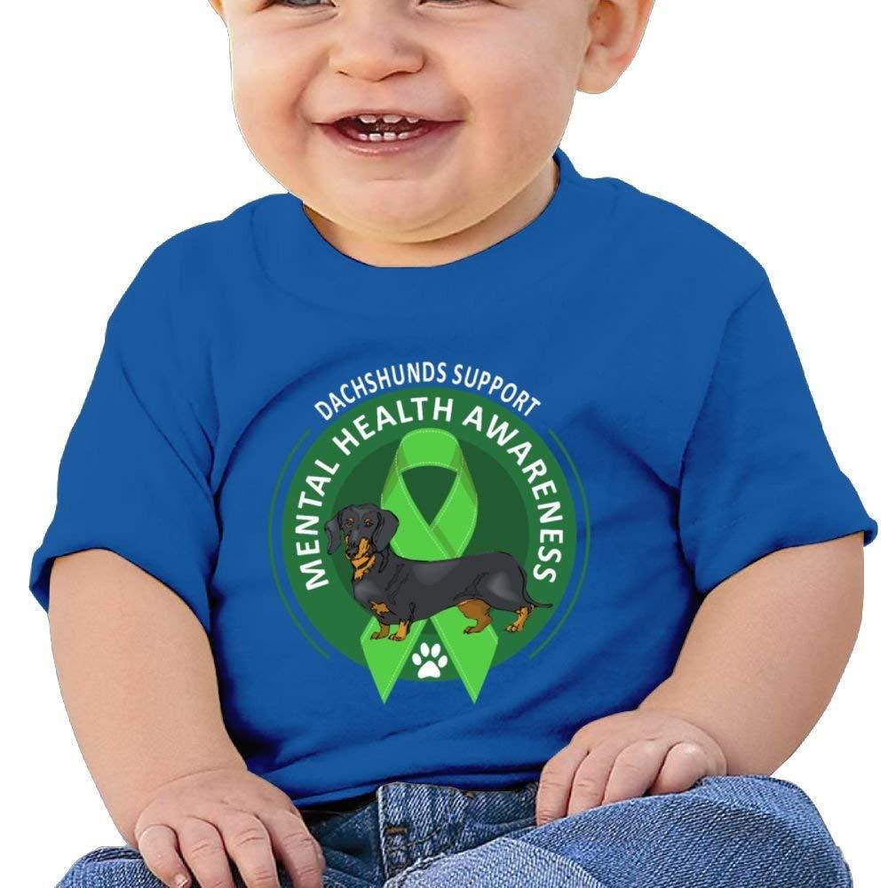 T-Shirt Dachshund Support Mental Health Awareness Day 6-24 Months Baby Boys Kids