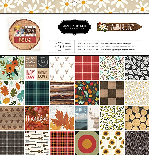 American Crafts Pebbles Patterned PB JH Warm & Cozy Paper Pads (48 Sheets), 12 x (Warmer Cozy)
