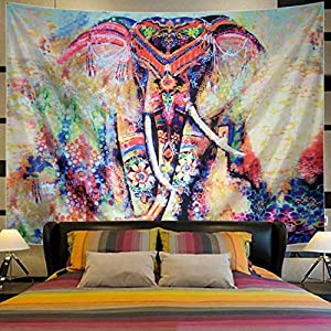 Lahasbja Elephant Tapestry Wall Hanging Bohemian Mandala Tapestry Colorful Hippie Tapestry Flower Psychedelic Wall Tapestry Watercolor Elephant Wall Decor