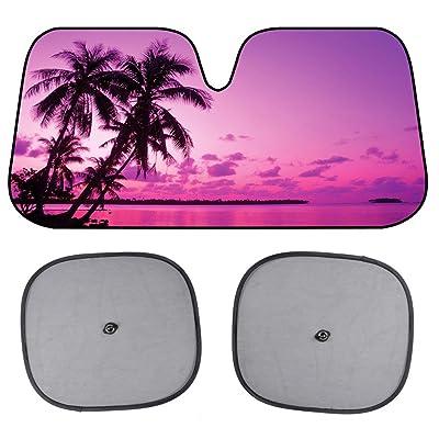 Pink Purple Sunset Beach Front Windshield Sun Shade & Side Window Shades-Accordion Folding Auto Sunshade for Car Truck SUV - Blocks UV Rays Sun Visor Protector - Keeps Your Vehicle Cool - 58 x 28 Inch: Automotive