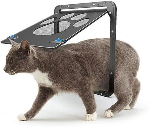 JCT Puerta para Mascotas Puerta de Perro Puerta para Gato Cerradura automática Bloqueable Redes de Seguridad Puertas Cierre magnético 29 * 24CM (S, Black): Amazon.es: Productos para mascotas