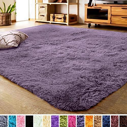 LOCHAS Luxury Velvet Fluffy Rug Modern Shag Area Rugs for Bedroom, Super Soft and Comfy Carpet, Non Slip Floor Fur Carpets for Kids Home Decor, 2x3 Feet Grey Purple
