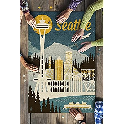 Seattle, Washington - Retro Skyline (Premium 1000 Piece Jigsaw Puzzle for Adults, 20x30, Made in USA!): Toys & Games
