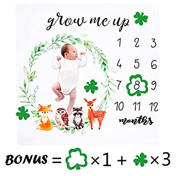 Monthly Blankets for Newborns Double Sided Monthly Baby Milestone Blanket- Month Blanket for Baby Pictures Boy and Girl Milestone Blanket Multicolor Photo Blanket with Baby Photo Props