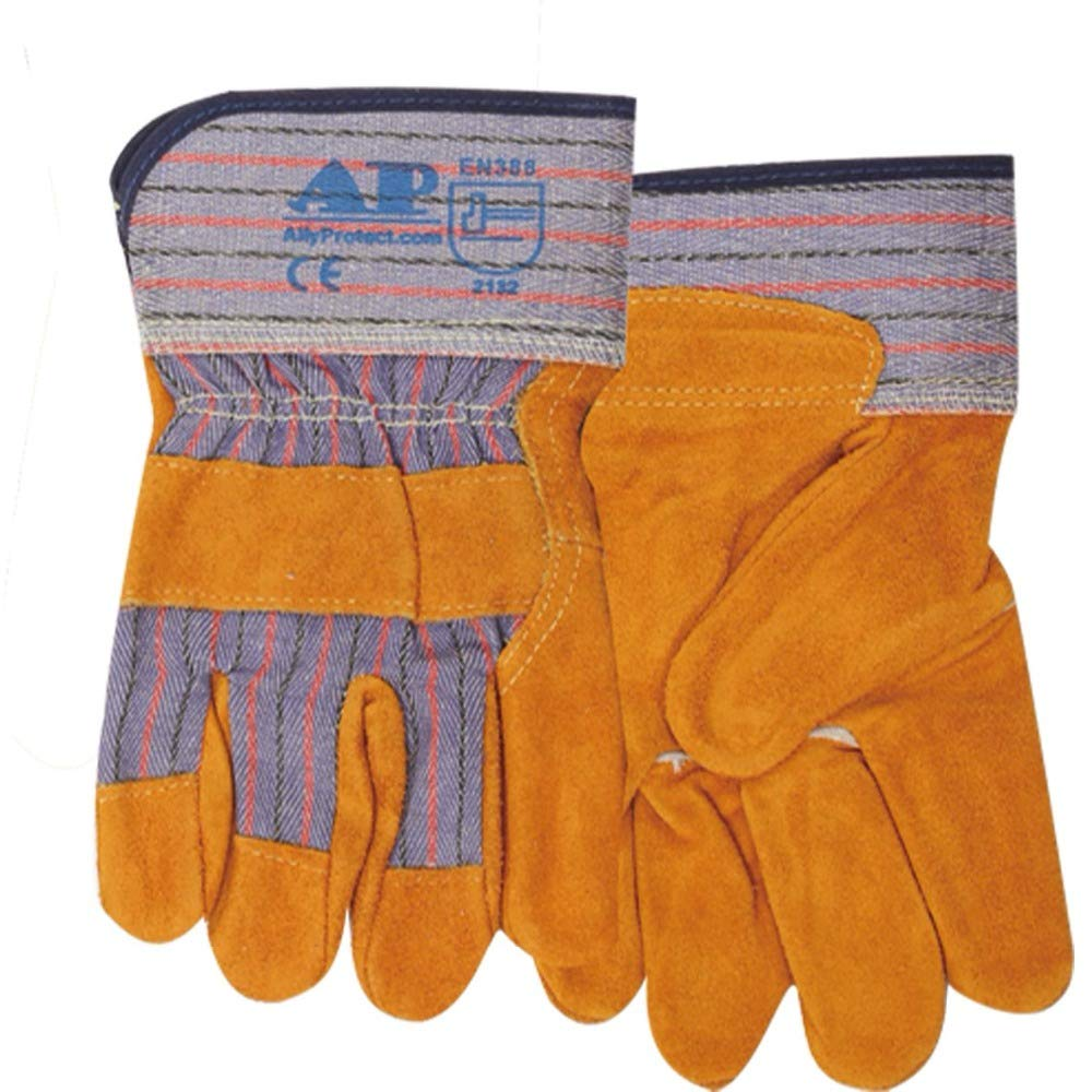 Welders Gauntlet,Work Gloves Durable Durable Cowhide Leather and Cotton Lining Palm CE Certified Welding Gloves,L
