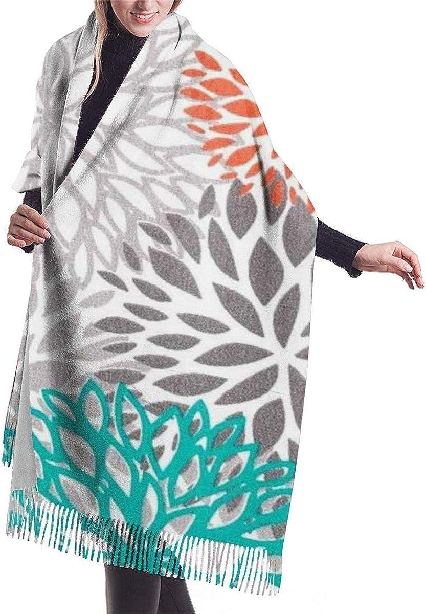 Harla Pashmina Wrap Blanket Scarf, Women Pashmina Scarf, Orange Green Brown Blooms Shawls And Wraps For Gifts Evenin.