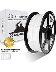 PLA Filament White, 3D Warhorse PLA Filament 1.75mm,PLA 3D Printer Filament, Dimensional Accuracy +/- 0.02 mm, 2.2 LBS(1KG),1.75mm Filament, Bonus with 5M PCL Nozzle Cleaning Filament