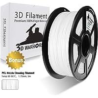 3D Warhorse PLA Filament White, PLA Filament 1.75mm,PLA 3D Printer Filament, Dimensional Accuracy +/- 0.02 mm, 2.2 LBS(1KG),1.75mm Filament, Bonus with 5M PCL Nozzle Cleaning Filament