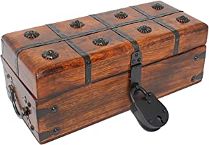 Nautical Cove Treasure Chest Wooden Box with Antique Iron Lock and Skeleton Key - Storage and Decor (Medium 12.25 x 6 x 5.5