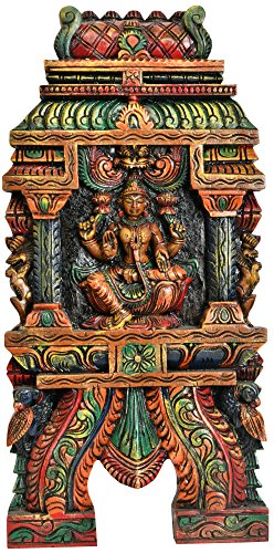 Goddess Lakshmi (Wall Hanging) - South Indian Temple Wood Carving