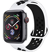 Haotop Replacement Straps Compatible with Apple Watch,Soft Silicone Sport Replacement Bands for iWatch Series 4/3/2/1 M/L (42mm/44mm, White/Black)