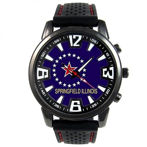 f8680248d764 Springfield US City Reloj para hombre con correa de silicona  Timest   Amazon.es  Relojes