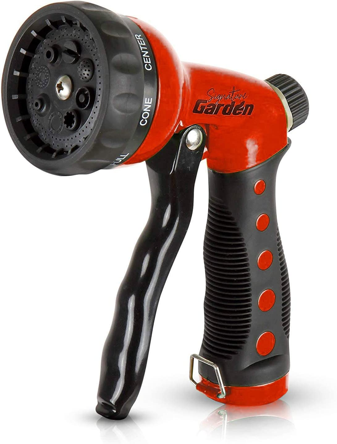 Signature Garden Heavy-Duty Nozzle, Comfort-Grip 8 Different Spray Patterns for Watering Lawns, Washing Cars & Pets (Red)