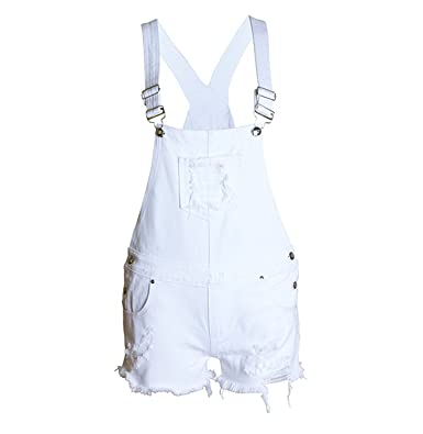 8434764b37a2 OUXIANGJU Summer Women Girls White Washed Denim Casual Hole Jumpsuit Romper  Overalls Jeans Short at Amazon Women s Clothing store