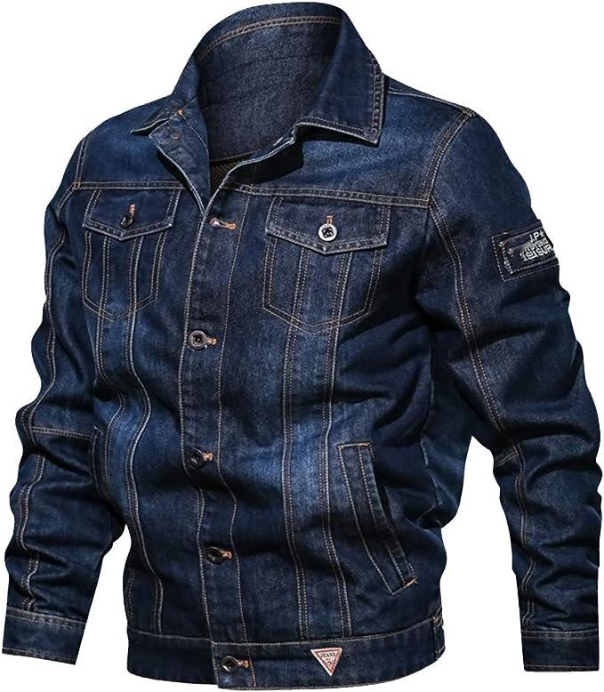 メンズデニムジャケットトラッカージャケットアウトドアカジュアルジーンズコートオートバイバイカージャケット