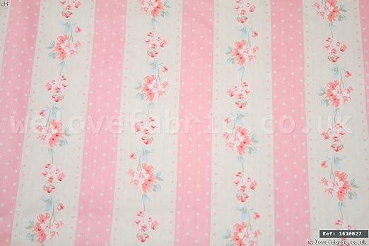 Flores de lunares, rayas 100% algodón tela por metro ancho de 1,6 ...