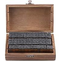 Sellos de Goma de la Letra del Alfabeto de la Vendimia del Vintage 70PCS pequeña Caja de Madera