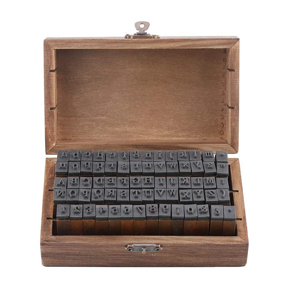 70pcs Letter Number Stamps Vintage Wood Alphabet Letter Rubber Stamps Small Wooden Box