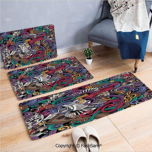 3 Piece Flannel Bath Carpet Non Slip Music Themed Hand Drawn Abstract Instruments Microphone Drums Keyboard Stradivarius Front Door Mats Rugs for Home(W15.7xL23.6 by W19.6xL31.5 by W35.4xL62.9)