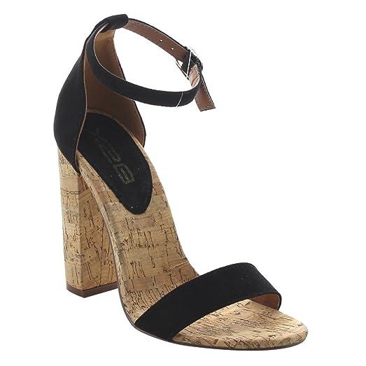 FJ90 Women's High Chunky Heel Ankle Strap Single Band Dress Sandals