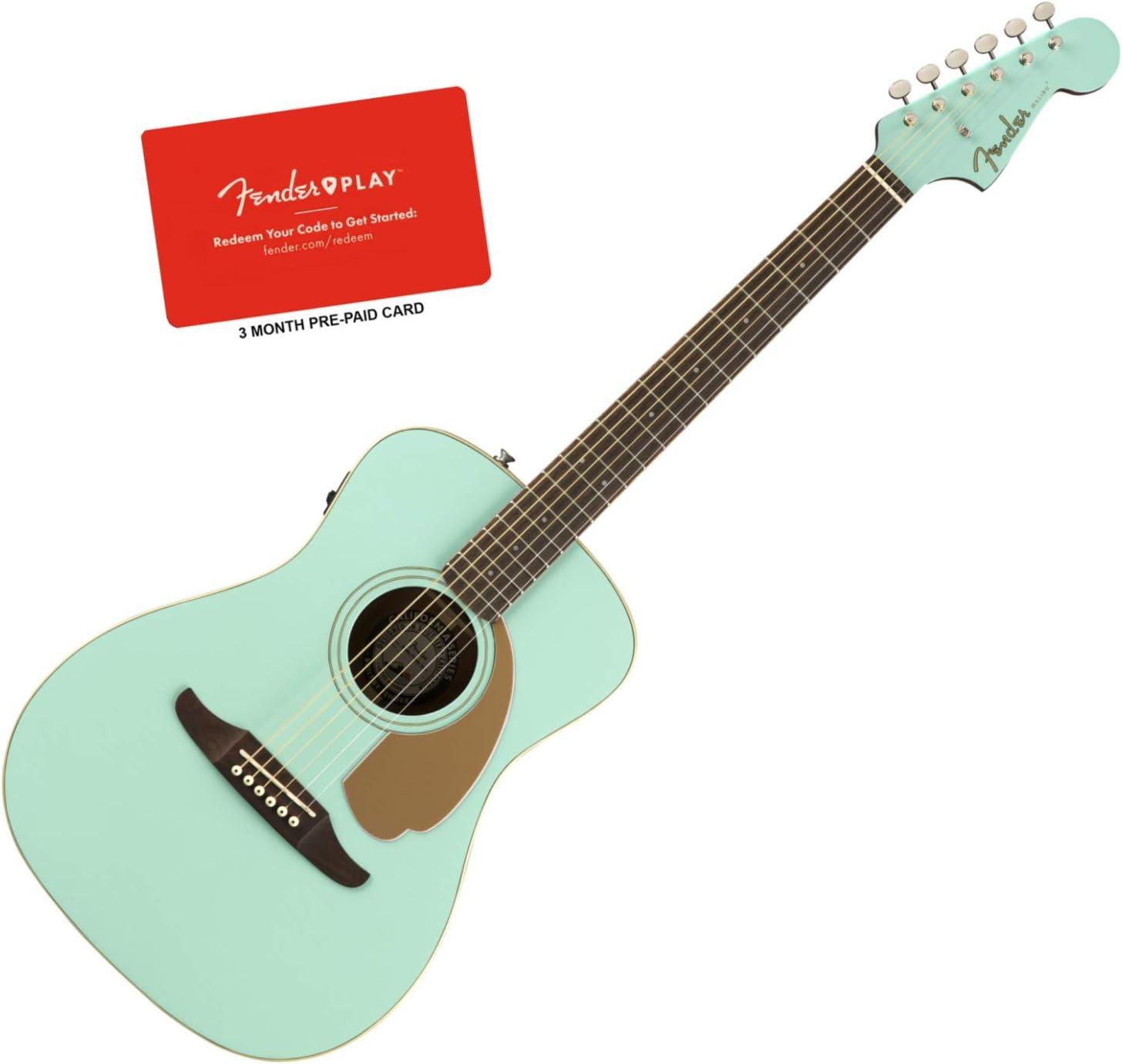 Fender Malibu Player Aqua Splash - Guitarra acústica eléctrica con función de Fender Play (tarjeta prepagada de 3 meses): Amazon.es: Instrumentos musicales